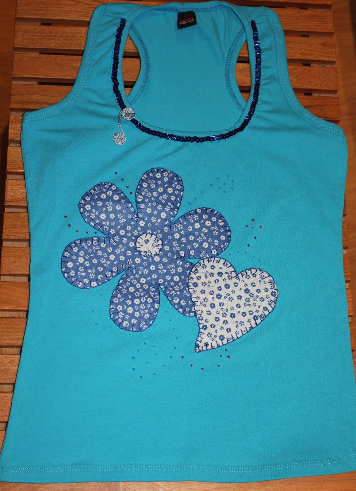Camisetas decoradas con patchwork lentejuelas y pintura - Pintura para camisetas ...
