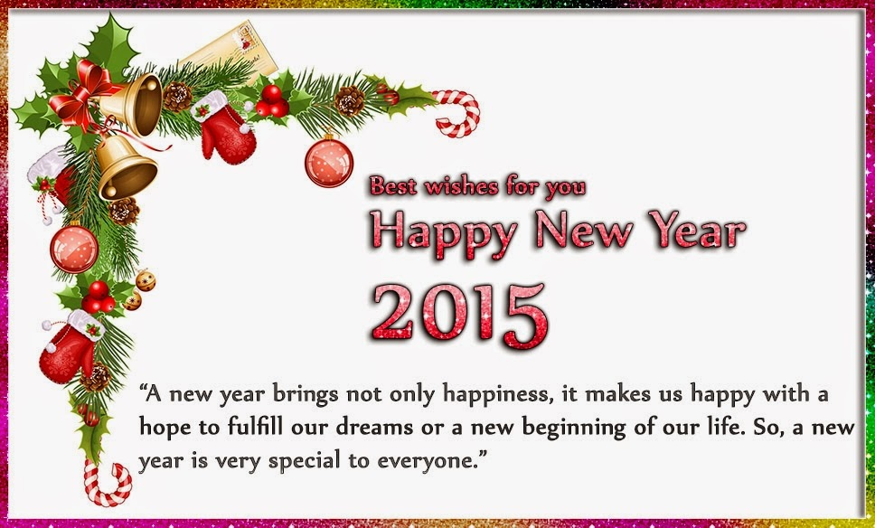 Lovely Tree Flowers Happy New Year Wishes 2015 Images