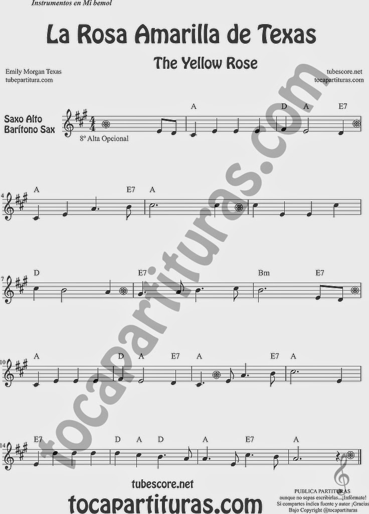 La Rosa Amarilla de Texas Partitura de Saxofón Alto y Sax Barítono Sheet Music for Alto and Baritone Saxophone Music Scores The Yellow Rose de Emily Morgan