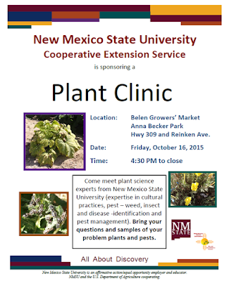 Advertising flyer for the Belen Growers' Market Plant Clinic