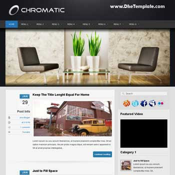 Chromatic blog template. magazine blogger template style. featured content blog template