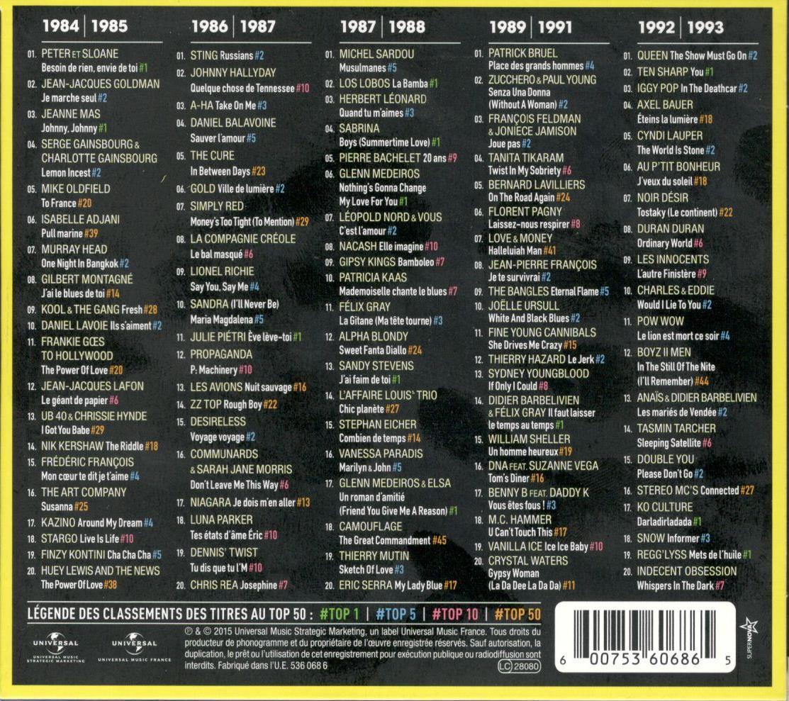 musicollection top 50 la compilation officielle des 30 ans du top 50 vol 2 2015. Black Bedroom Furniture Sets. Home Design Ideas