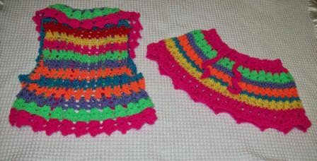 a crochet vest and skirt