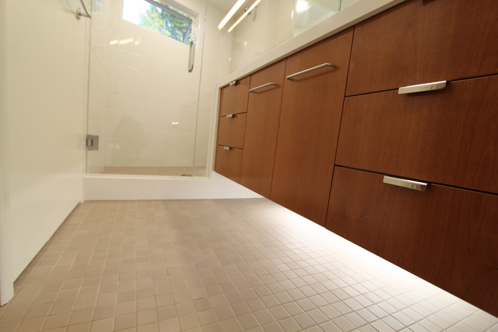 Top five favorite features mid century bathroom remodel Mid century modern flooring