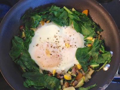 Eggs in a veggie hash