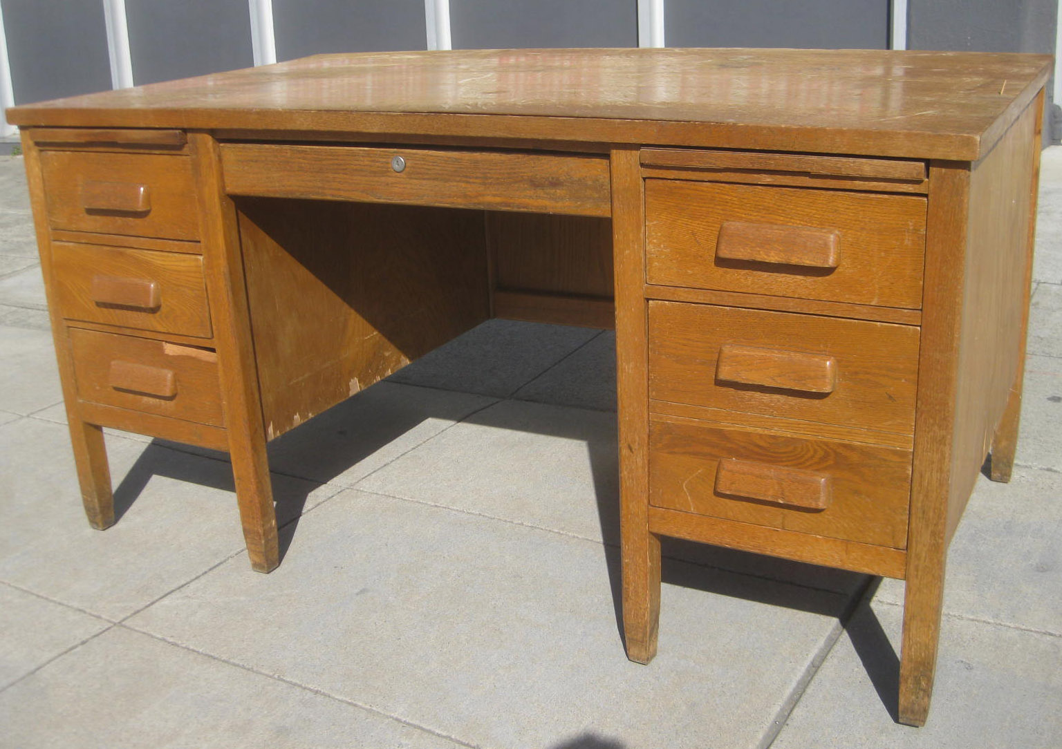 SOLD - Oak Teacher's Desk - $50 - UHURU FURNITURE & COLLECTIBLES: SOLD - Oak Teacher's Desk - $50