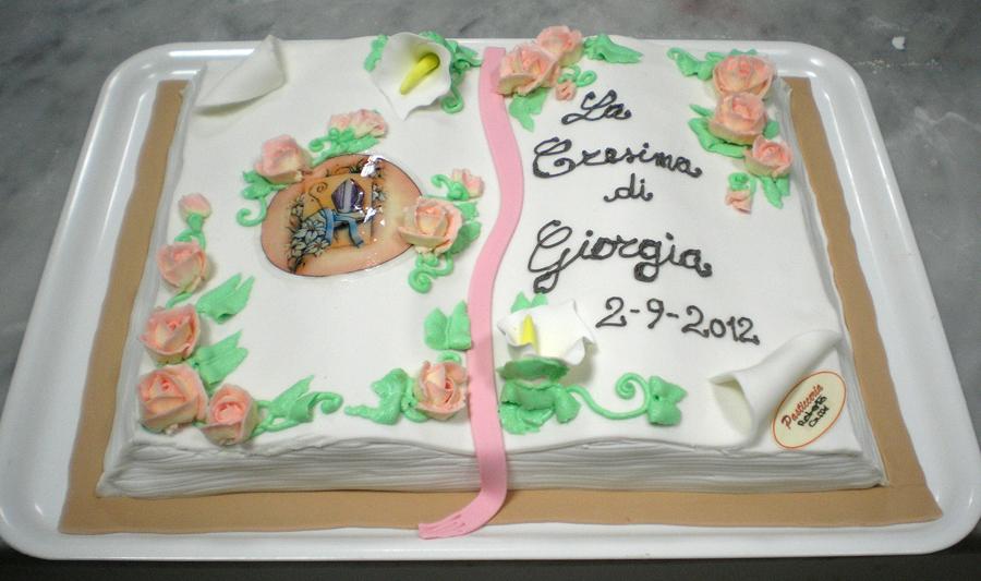 Finest torta a libro per la santa cresima pds al for Decorazioni torte per cresima