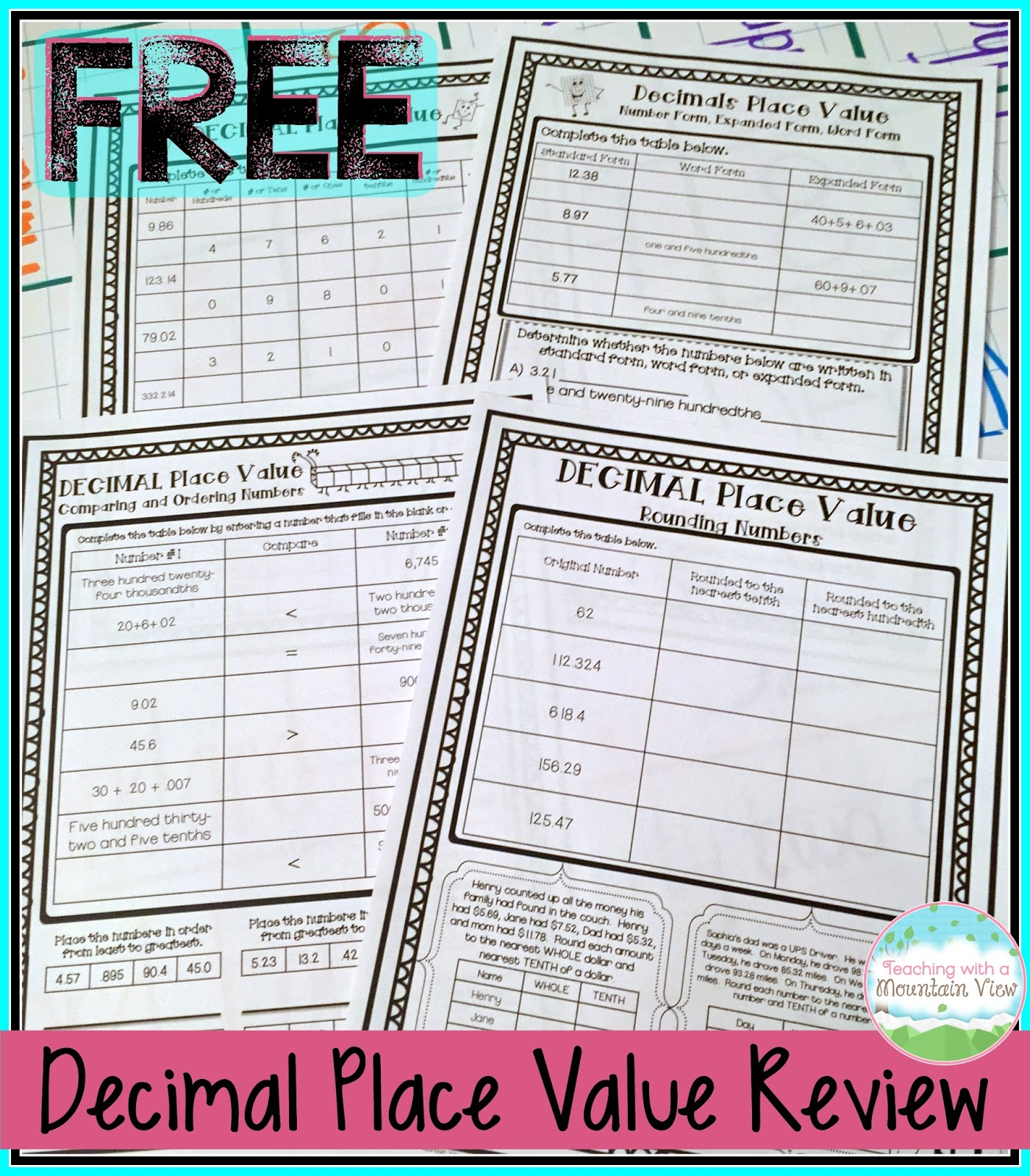 Teaching with a mountain view decimal place value resources it covers all the common place value concepts such as rounding comparing standard form expanded form etc with decimals falaconquin