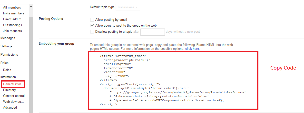 Google groups embed code