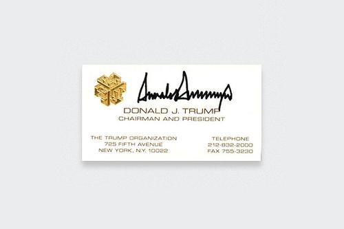 10 Kartu Nama Legendaris dari Tokoh-Tokoh Terkenal Dunia: Donald J. Trump