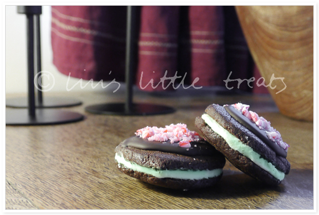 Peppermint and Chocolate Sandwiches, peppermint, chocolate, pepparmint, choklad, jul, christmas, recipe, recept, december