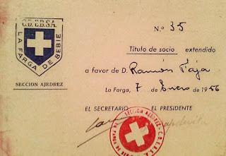 Carnet de socio del Club de Ajedrez de La Farga de Bebié