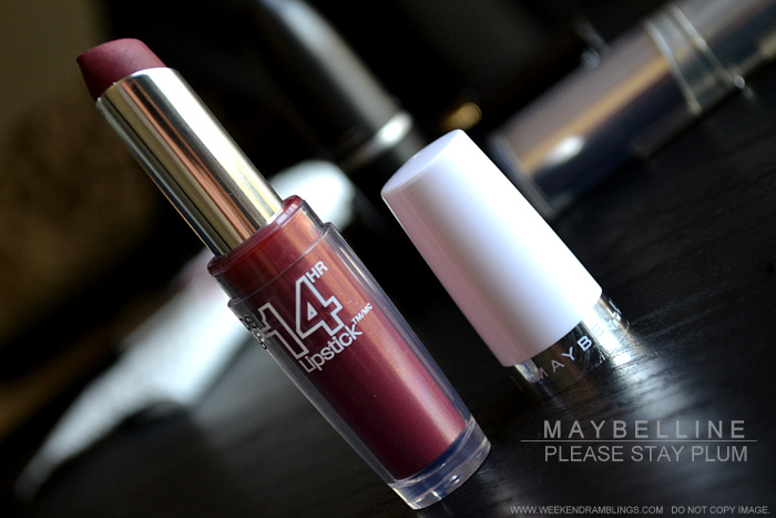 Maybelline Lipstick Please Stay Plum SuperStay 14 HourBest Perfect Indian Darker Skin Makeup Beauty Blog Review Swatches FOTD Looks Photos