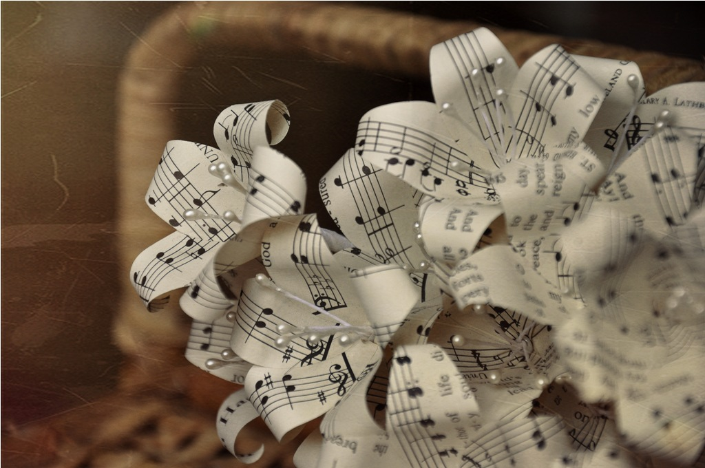 Vintage music sheet paper flowers reduce reuse recycle and roses spirals and roses made of vintage book pages the rest of the arrangement is made of wooden flowers corn husk flowers pine cones mightylinksfo