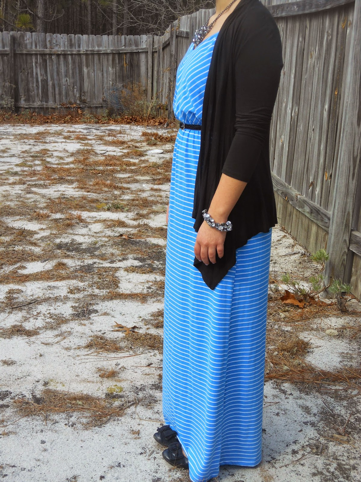 Dressed Up Striped Maxi. Blue striped maxi dress, black cardigan, black flats, sparkly jewelry, black belt.
