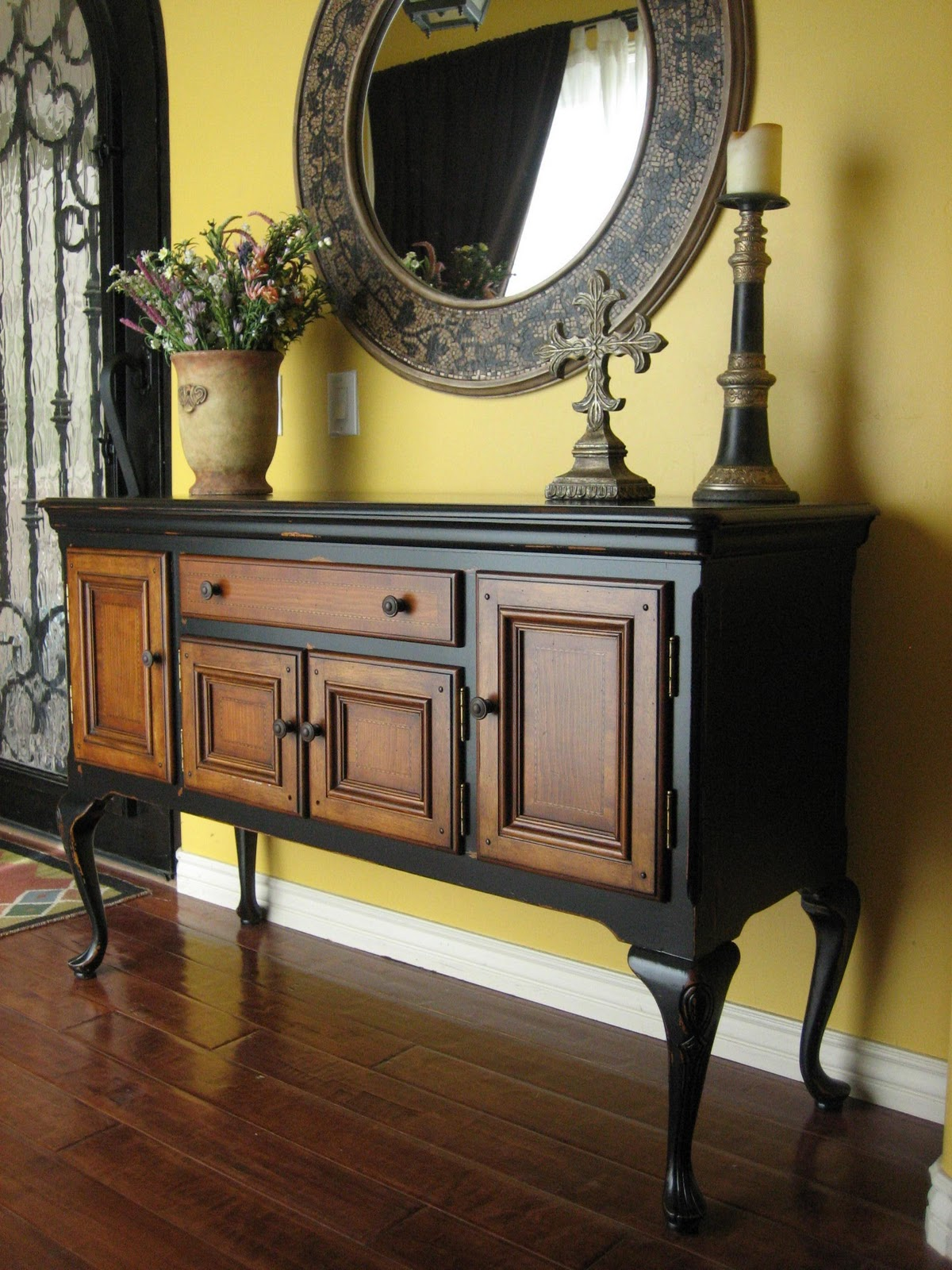 Black Wood Buffets ~ European paint finishes black sideboard w wood inlay