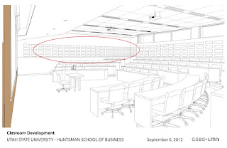 Layout of wall sound baffles in new Huntsman School classrooms.