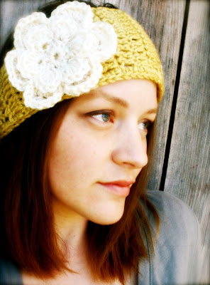 Knit Ear Warmer Pattern with Flower Crochet | Ashlee Marie