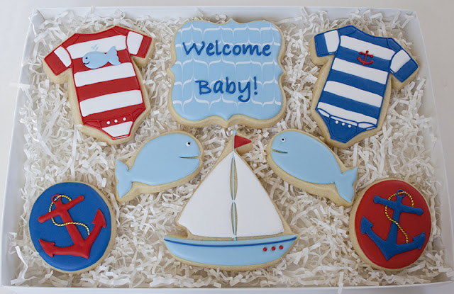 nautical baby cookies