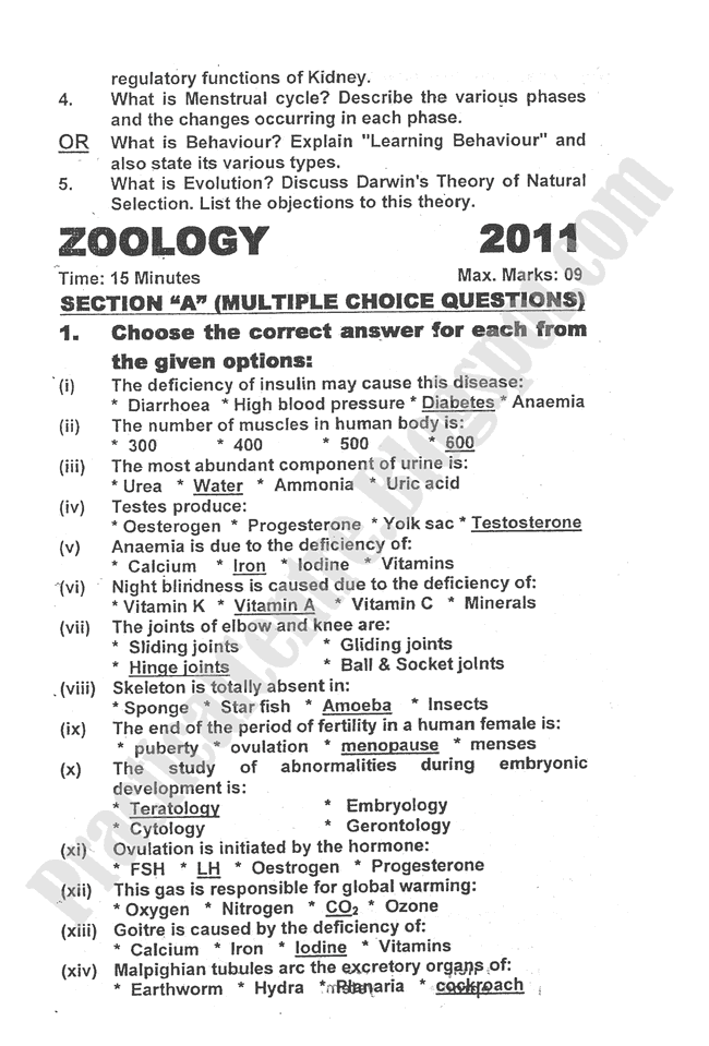 2012-zoology-five-year-paper-class-XII