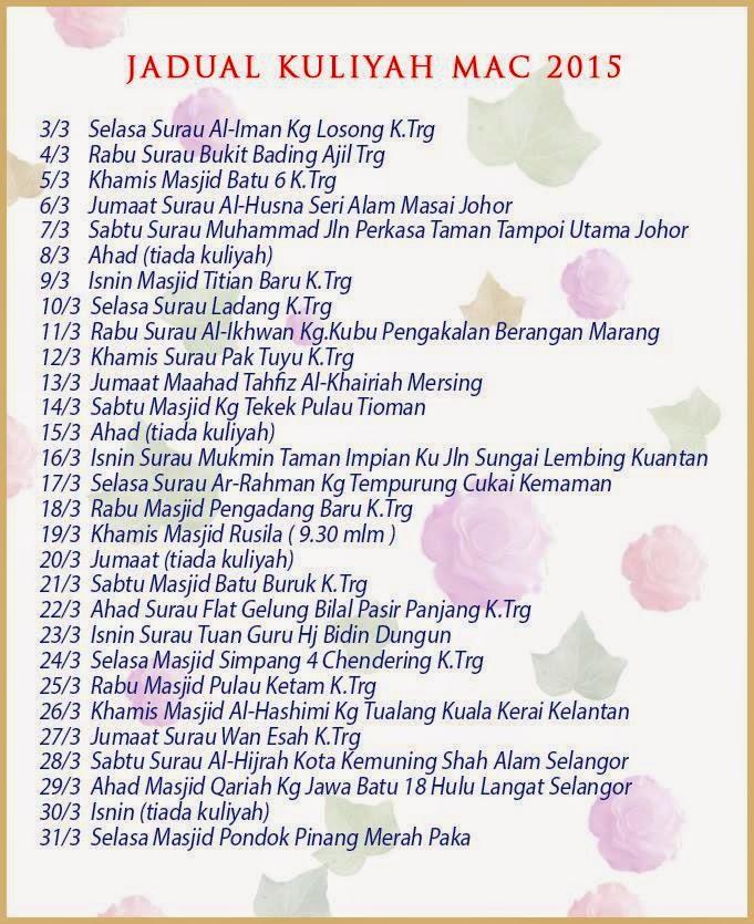 Jadual Kuliah Ustaz Azhar Idrus (UAI) Mac 2015