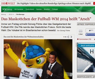 Jornal alemão diz que sinônimo de Fuleco é -ânus- e causa confusão