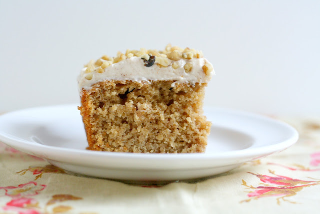 spiced applesauce cake with cream cheese frosting