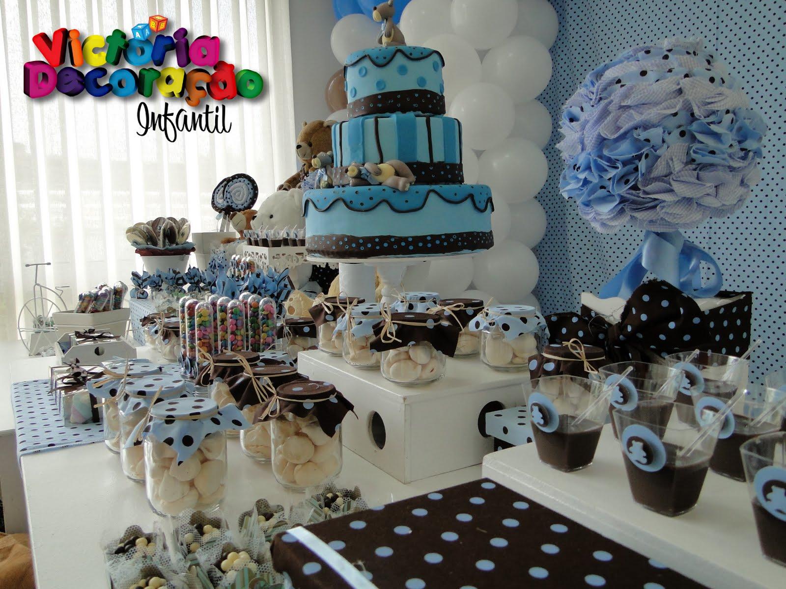 decoracao festa urso azul e marrom:Decoracao Aniversario Ursinho Marrom E Azul
