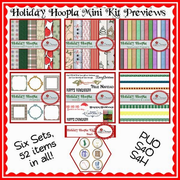 The entire set comes with 12 patterned papers, 12 textured papers, 6 frames, 6 brads, 3 ribbon elements, 3 lace elements, and 10 word art creations.