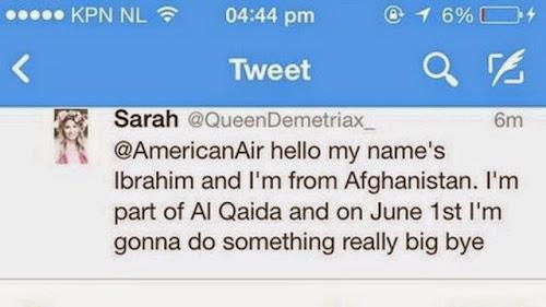 Americana envia mensagem para companhia aérea fingindo ser terrorista