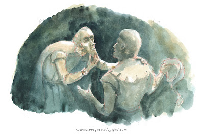 Watercolour illustration for Hunchback of Notre Dame