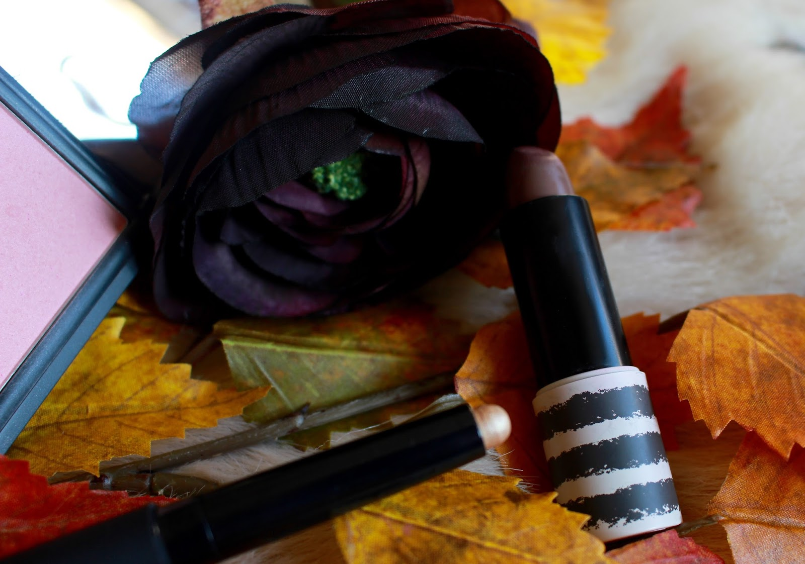 Autumn Rosy Cheek Dark Lips Look