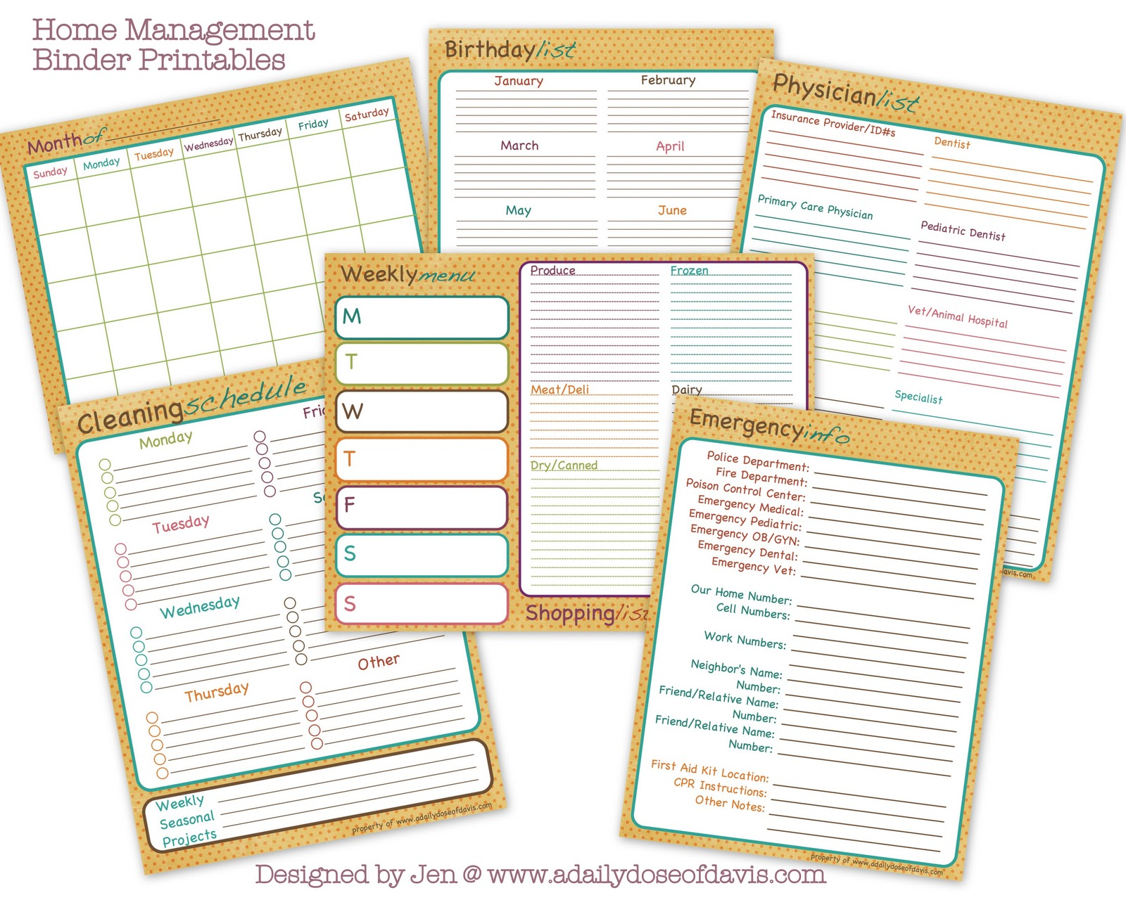 Home Management Binder Free Printables Organizing