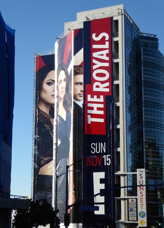 The Royals season 2 giant billboard Sunset Strip