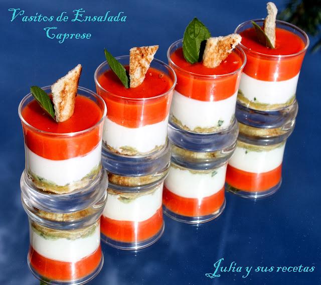 Julia y sus recetas vasitos de ensalada caprese - Entrantes navidenos ...