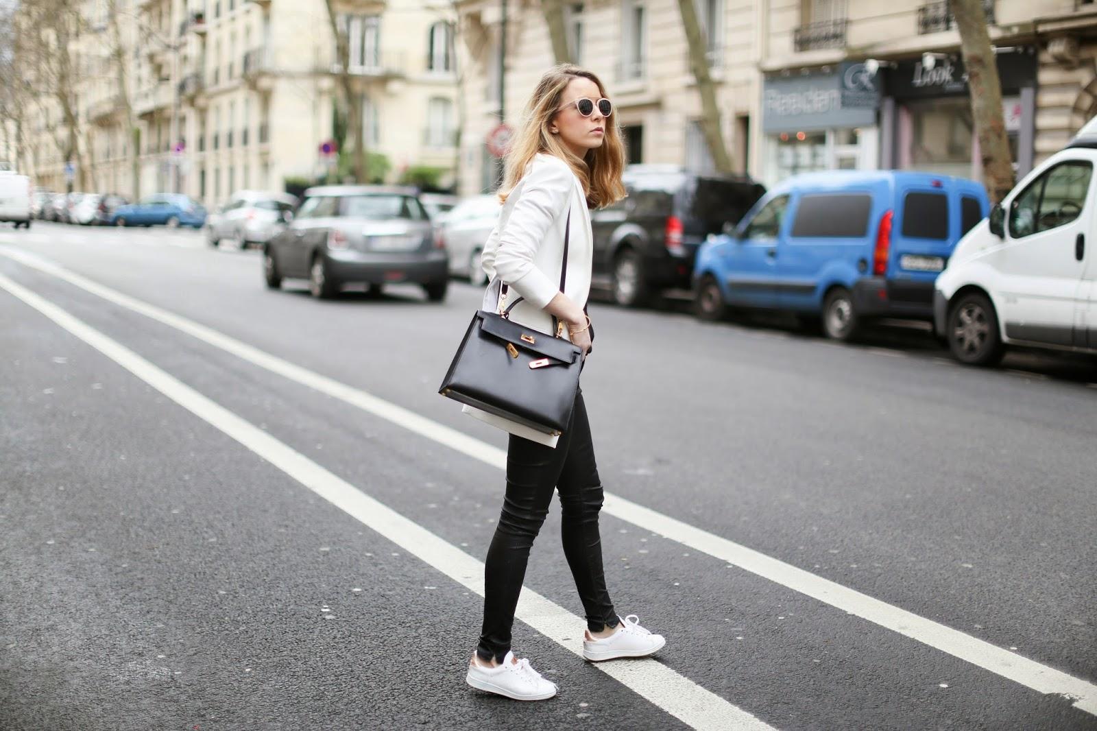 black and white, stan smiths, streetstyle, hermès, blk dnm, paris