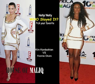 Yvonne Okoro Vs Kim Kardashian Who Rocked White Crystal Embellished Bandage Bodycon Dress Better ?