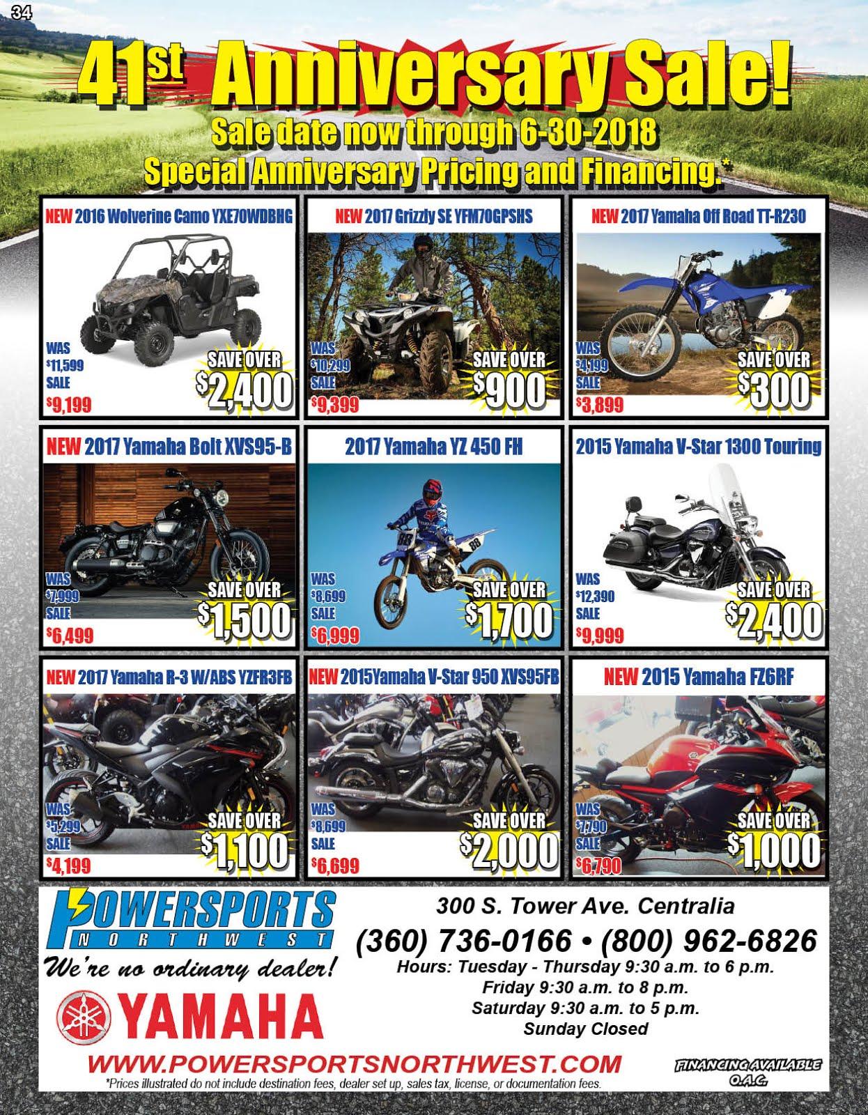 Powersports Northwest 41st Anniversary Sale!!