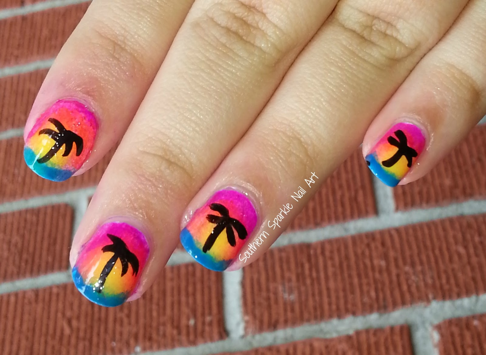 Southern Sparkle Nail Art Sunset Nail Art