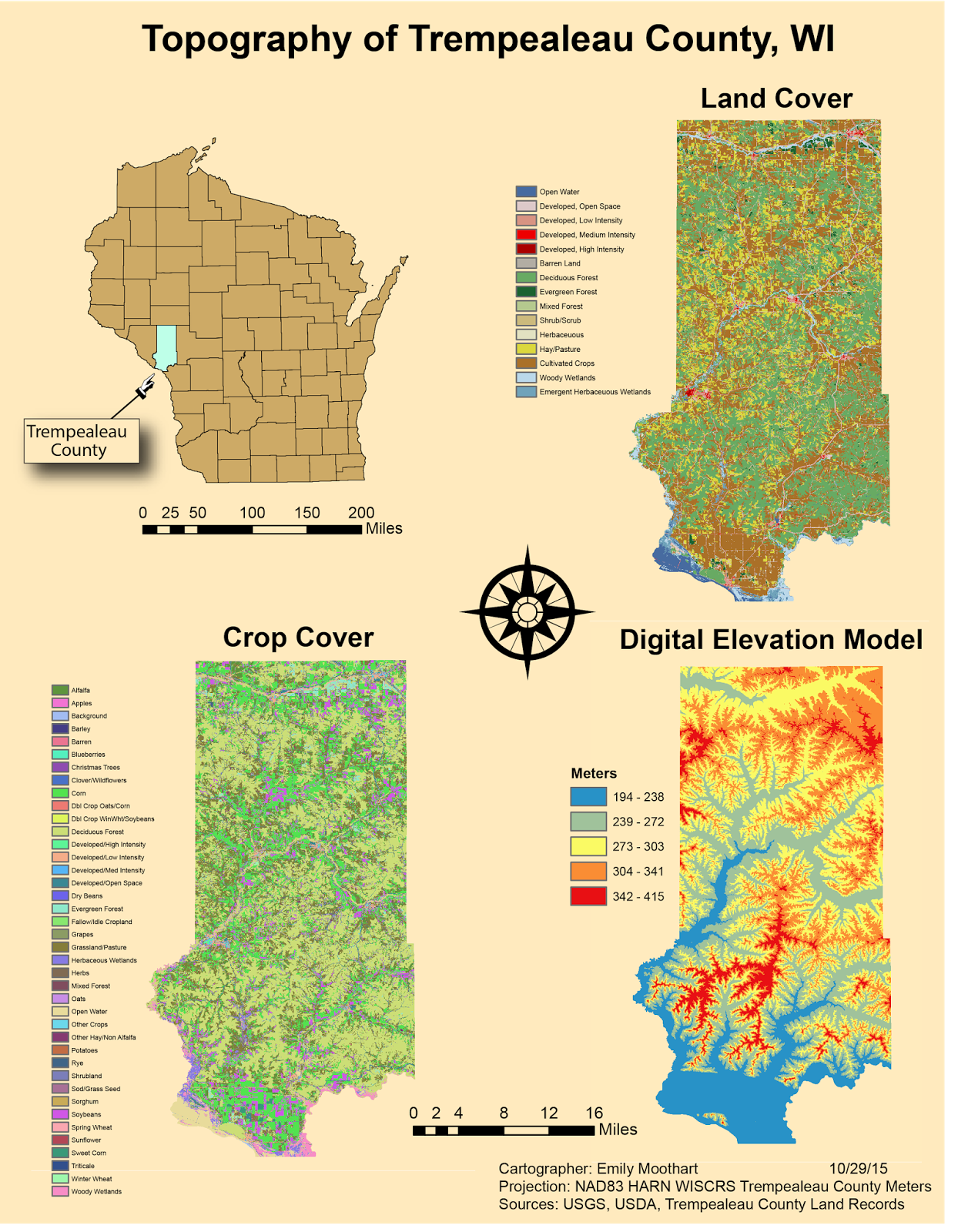 various topographic maps of trempealeau county wisconsin the maps will be used in later labs to create a suitability model for frac sand mining sites in