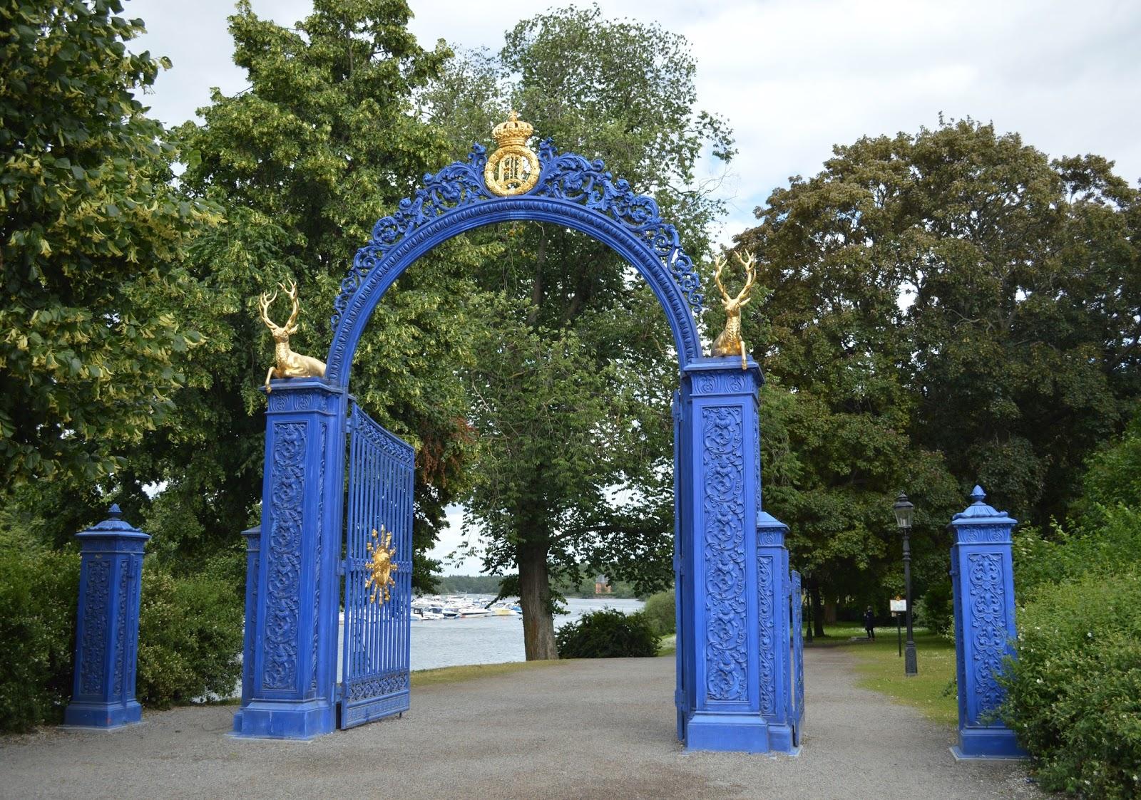 Blue gate entrance for Djurgården park island in Stockholm