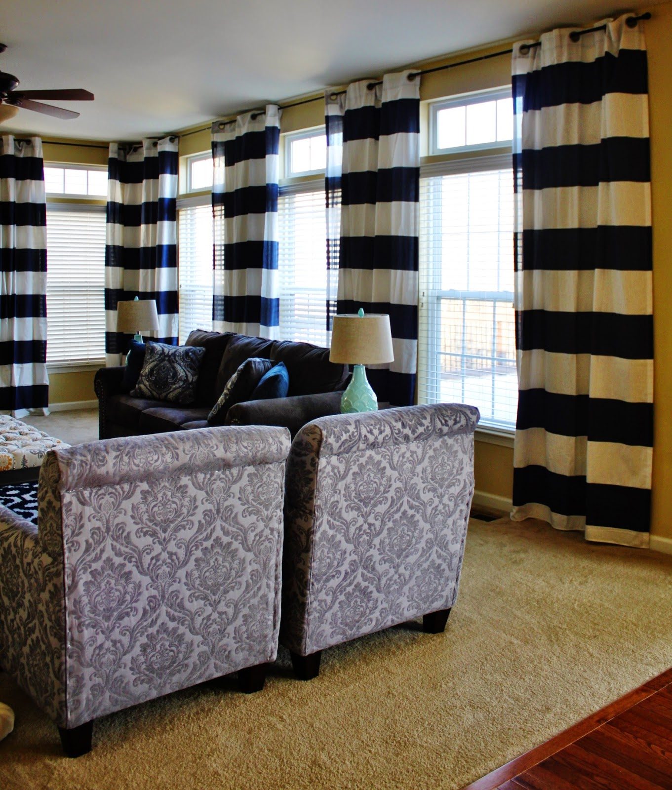 Black and white striped curtains living room - I Considered Buying Fabric Sewing The Stripes Or Even Just Buying Inexpensive White Curtains Painting The Stripes On Both Of Which Would Be Very
