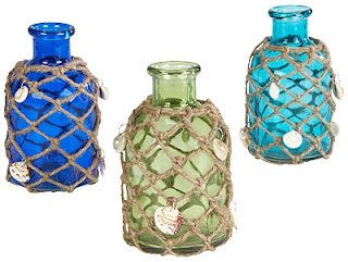 glass bottles with netting