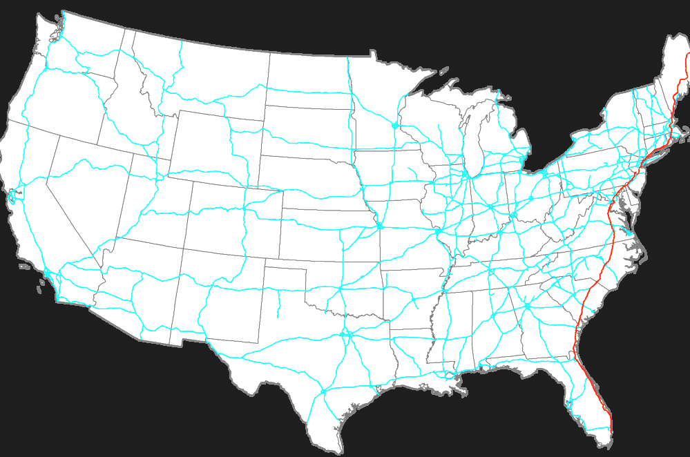 Interstate Map Of I In Florida - Us map i 95