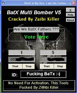 Working Batx Sms Bomber cracked by zaibi Softwares Zone.