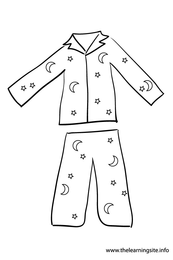 Clip Art Pajamas Colouring Pages