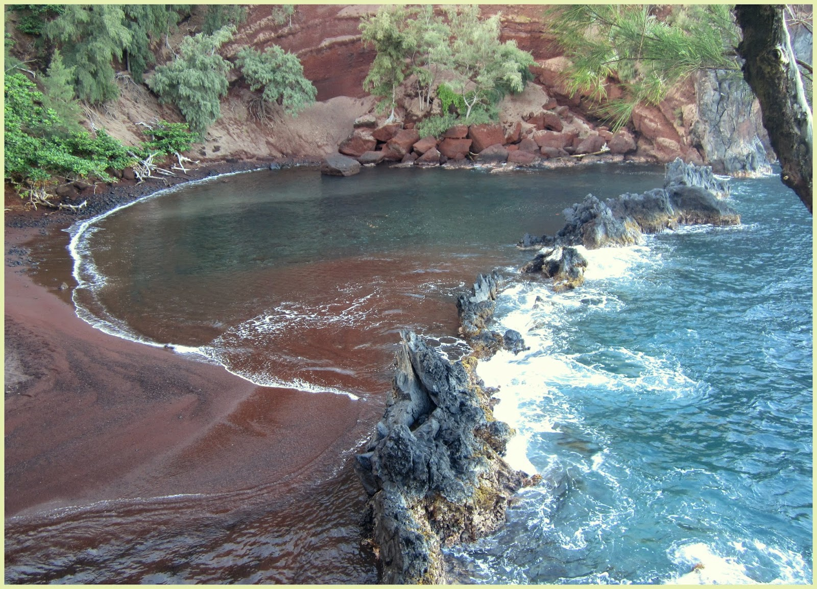 Red Sand Beach. Hidden places in Maui