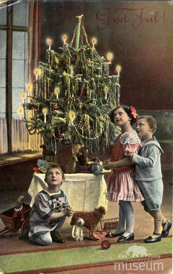 the holiday tree in this postcard is reminiscent of the olssons ljuskrona with its festive decorations and lighted candles the swedish christmas postcard - Swedish Christmas Tree