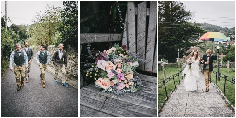 Groomsmen walking to church, flowers on seat and bride arriving at church