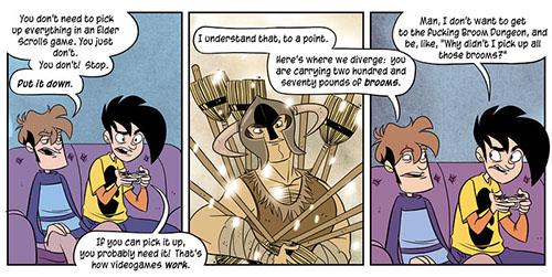 Penny Arcade Skyrim comic strip - Nov 14, 2011